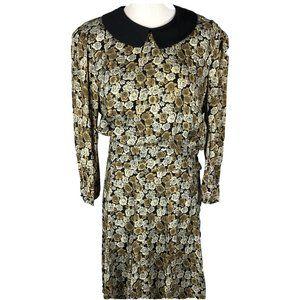 Vintage Jane Singer 80's Peter Pan Collar Dress 12